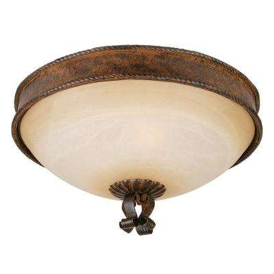 McKensi Collection 3-Light Bronze Patina Flushmount with Alabaster Glass Shade
