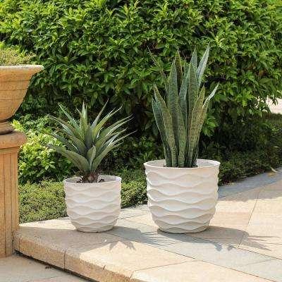 White Wavy Design Composite MgO Planters (2-Piece)