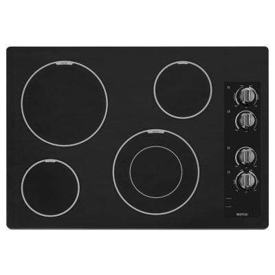 Maytag 30 in. Ceramic Glass Electric Cooktop in Black with 4 Elements including Dual Choice and Speed Heat Elements Maytag