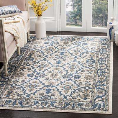 Carolina Cream/Dark Blue 9 ft. x 12 ft. Area Rug