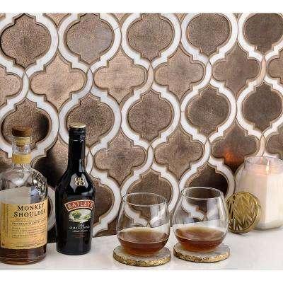 Oracle Arabesque Metallic Copper 9-7/8 in. x 11-3/4 in. x 10mm Glazed Ceramic Mosaic Tile