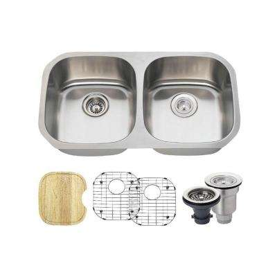 All-in-One Undermount Stainless Steel 32-1/2 in. Double Bowl Kitchen Sink