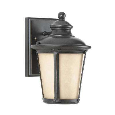 Cape May 1-Light Burled Iron Outdoor Wall Mount Lantern with Amber Tint Etched Hammered glass
