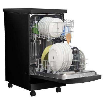 18 in. Portable Dishwasher in Black with Stainless Steel Tub, ENERGY STAR