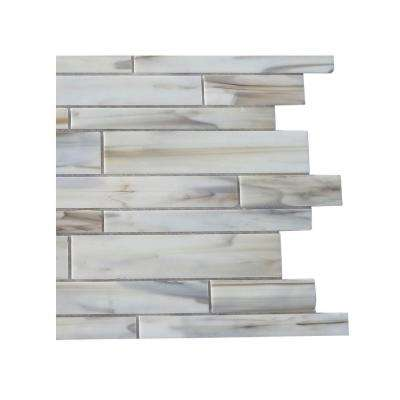 Matchstix Halo 3 in. x 6 in. x 8 mm Glass Mosaic Floor and Wall Tile Sample