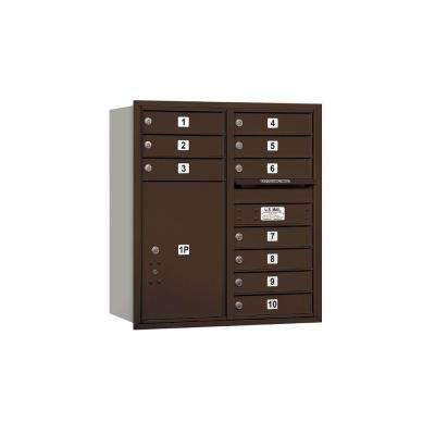 3700 Series 34 in. 9 Door High Unit Bronze USPS Rear Loading 4C Horizontal Mailbox with 10 MB1 Doors/1 PL6