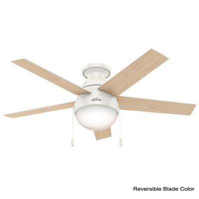 Anslee 46 in. Indoor Low Profile Fresh White Ceiling Fan bundled with Handheld Remote Control
