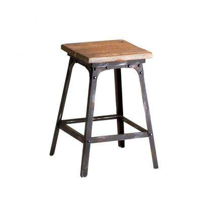 Prospect Square Stool in Raw Iron and Natural Wood