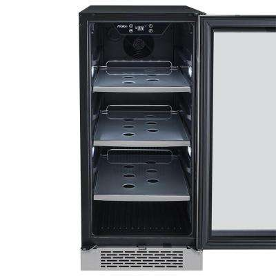 86 Can 15 in. Built-in Beverage Cooler in Black and Stainless Steel
