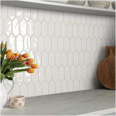 LuxeCraft 11 in. x 12 in. x 6.35mm White Ceramic Picket Mosaic Wall Tile (0.73 sq. ft. / piece)
