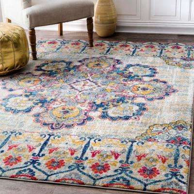 Vintage Floral Corrinne Yellow 5 ft. x 7 ft. Area Rug
