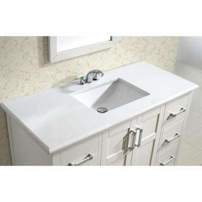 Winston 48 in. Bath Vanity in Soft White with Quartz Marble Vanity Top in Bombay White with White Basin