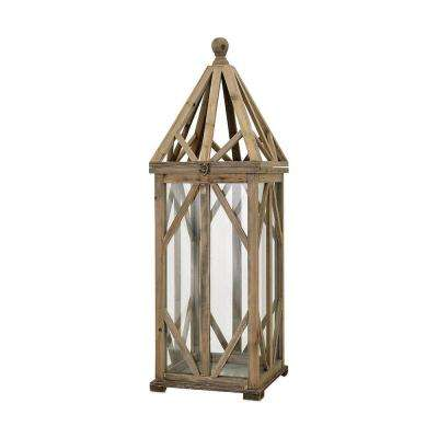 Dover 11 in. Natural Wood Lantern