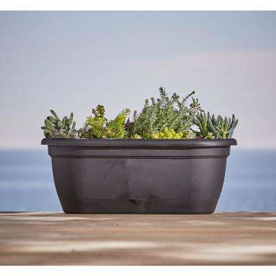Lucca 18 in. x 7.5 in. Pebble Stone Plastic Self Watering Window Box Planter with Saucer