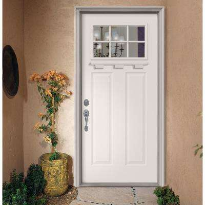 """ 36 in. x 80 in. 6 Lite Craftsman White Painted Steel Prehung Right-Hand Inswing Door w/Brickmould and Shelf"""