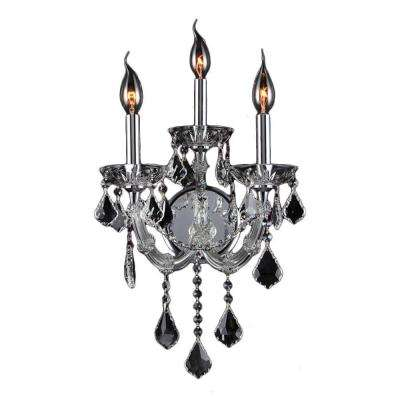 Lyre Collection 3-Light Chrome and Clear Crystal Sconce