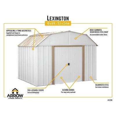 Lexington 10 ft. W x 8 ft. D 2-Tone Galvanized Metal Barn-Style Storage Building