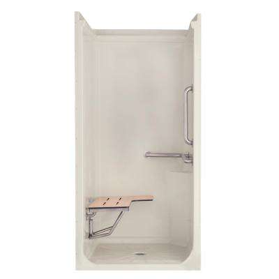 41 in. x 37 in. x 76 in. 1-Piece Acrylic Low Threshold Shower Stall Package in Biscuit with Open Top and Center Drain