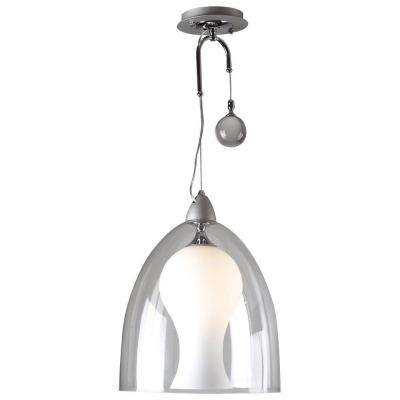1-Light Pendant Aluminum Finish Matte Opal and Clear Glass