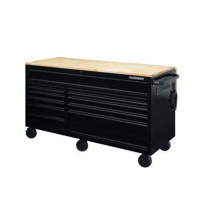 62 in. 12-Drawer Mobile Workbench with Full Length Ext Table in All Blacked Out