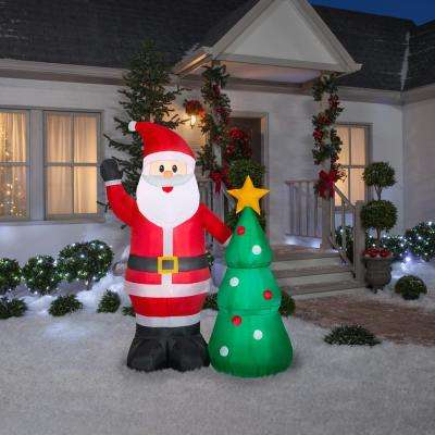 6.50 ft. Pre-Lit Life Size Airblown Inflatable Santa with Christmas Tree