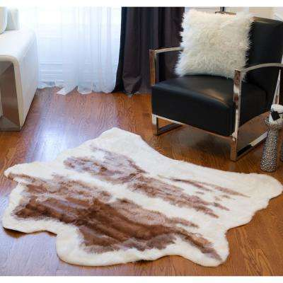 Faux Brown and White 4. 25 ft. x 5 ft. Cowhide Rug