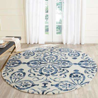 Dip Dye Ivory/Navy 7 ft. x 7 ft. Round Area Rug