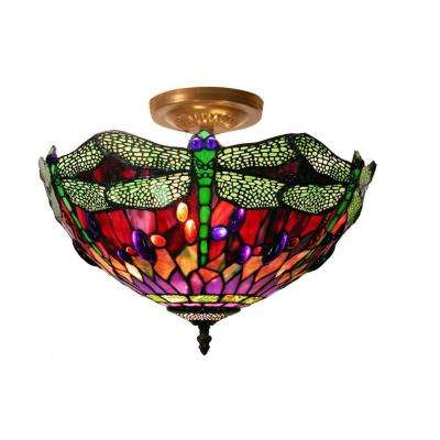 17 in. Dragonfly Brown/Multicolored Ceiling Lamp with Hardwired