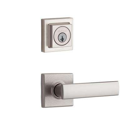 Vedani Square Double Cylinder Satin Nickel Interior Lever Pack Featuring SmartKey
