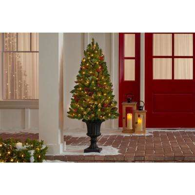 4 ft. Winslow Fir Pre-Lit Potted Artificial Christmas Tree with 100 White Lights