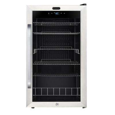 Freestanding 121-Can Beverage Refrigerator with Digital Control and Internal Fan
