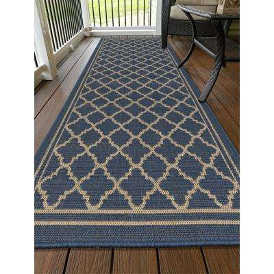 Jardin Collection Moroccan Trellis Design Natural Blue 3 ft. x 7 ft. Indoor/Outdoor Runner Rug