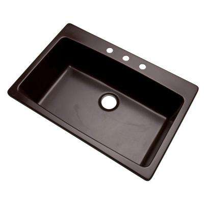 Rockland Dual Mount Composite Granite 33 in. 3-Hole Single Bowl Kitchen Sink in Espresso