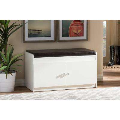 17 in. Margaret Modern and Contemporary White Wood 2-Door Shoe Cabinet with Faux Leather Seating Bench
