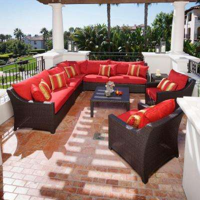 Deco 9-Piece Patio Sectional Seating Set with Cantina Red Cushions