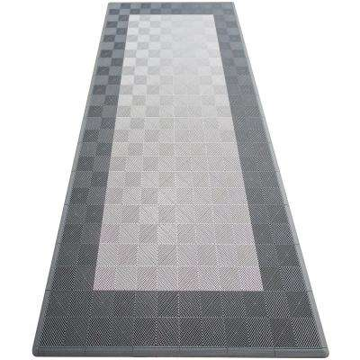 Silver and Grey Single Car Pad Ribtrax Modular Tile Flooring (134 sq. ft. / case)