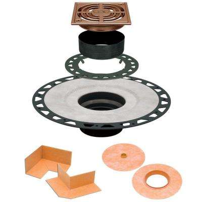 Kerdi-Drain ABS Drain Kit with 4 in. Brushed Copper Anodized Aluminum Grate