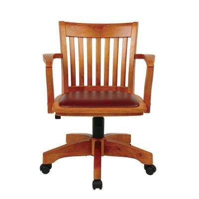 Deluxe Wood Bankers Chair with Padded Seat in Brown