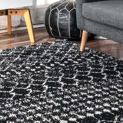 Barbara Moroccan Shag Black 8 ft. x 10 ft. Area Rug
