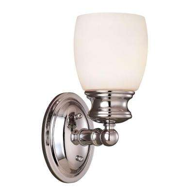 1-Light Polished Chrome Sconce with Frosted Opal Glass