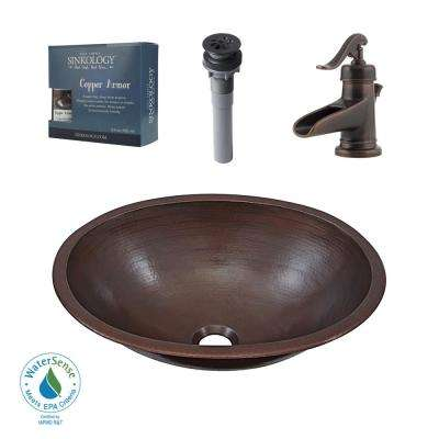 Pfister All-In-One Schrodinger Bathroom Sink Design Kit in Aged Copper with Centerset Rustic Bronze Faucet