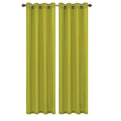 Primavera Crushed Microfiber Lime Grommet Extra Wide Curtain Panel, 60 in. W x 84 in. L