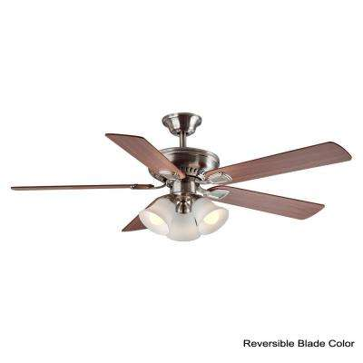 Campbell 52 in. LED Indoor Brushed Nickel Ceiling Fan with Light Kit and Remote Control