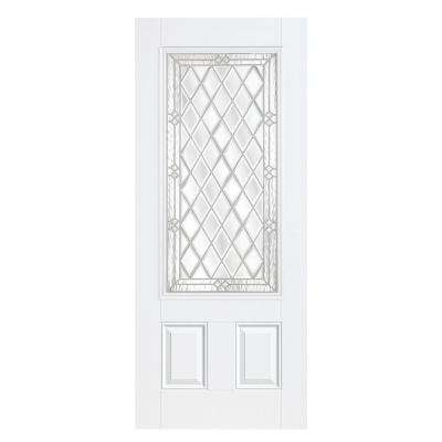 36 in. x 80 in. Halifax Three Quarter Rectangle Primed Steel Prehung Front Door with No Brickmold