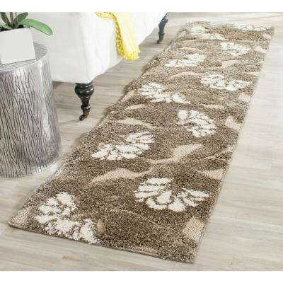 Florida Shag Smoke/Beige 2 ft. x 11 ft. Runner Rug