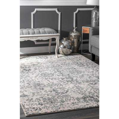 Floral Damask Nubia Grey 8 ft. x 8 ft. Round Area Rug