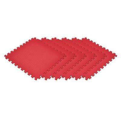 Red 24 in. x 24 in. x 0.47 in. Foam Interlocking Floor Mat (6-Pack)