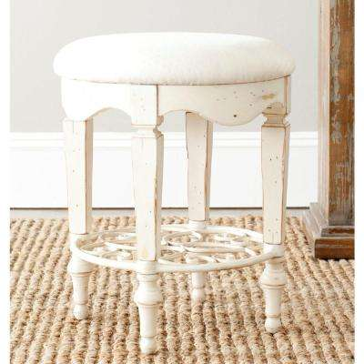 Maria Antique White Vanity Stool