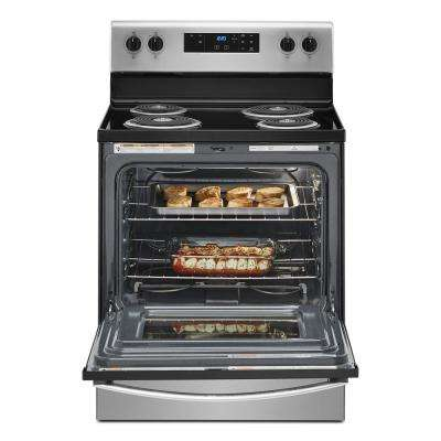 30 in. 4.8 cu. ft. 4-Burner Electric Range with Keep Warm Setting in Stainless Steel with Storage Drawer