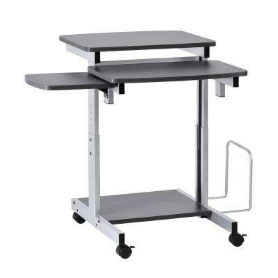 Capri Series Charcoal and Silver Compact Computer Desk